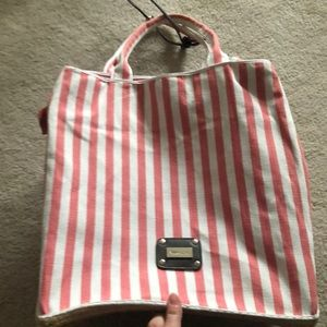 Beach Ready Coral and White Striped Bag